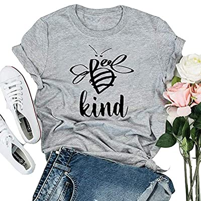 Women Be Kind T Shirt Cute Bee Graphic Short Sleeve O-Neck Blouse Summer Casual Tops Tees: Clothing [5Bkhe1405456]