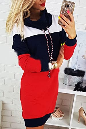 Zilcremo La Mujer Casual Vestido Colorblock High Neck Pullover Sudadera con Cordon