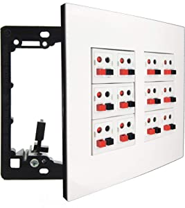 diyTech Premium Speaker Wall Plate, 12 Spring Loaded Speaker Terminal Connector, Supports 12 Speaker Configurations, 2 Gang Screwless - White (12 Speaker)
