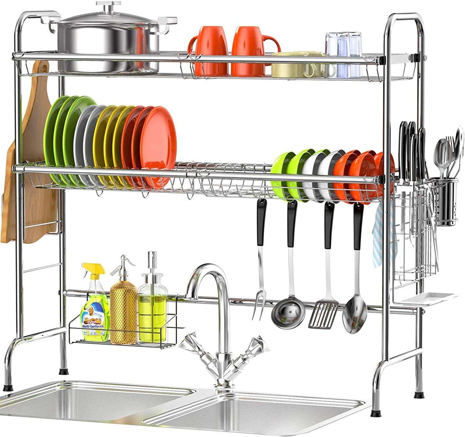 Ace Teah Dish Rack 2 Tier Above Sink Dish Drying Rack with Utensil Holder Hooks Over The Sink Dish Drying Rack Black