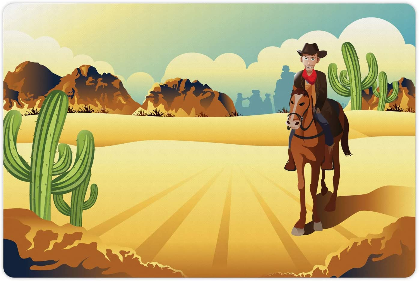 Ambesonne Western Horse Pet Mat for Food and Water, Country Themed Clipart Illustration Cowboy Riding in Desert Wild West, Non-Slip Rubber Mat for Dogs and Cats, 18