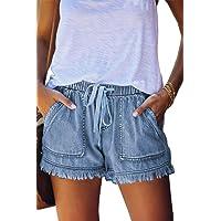 HVEPUO Mujer Pantalones Cortos Vaquero Moda 2021 Casual Verano Algodon Shorts