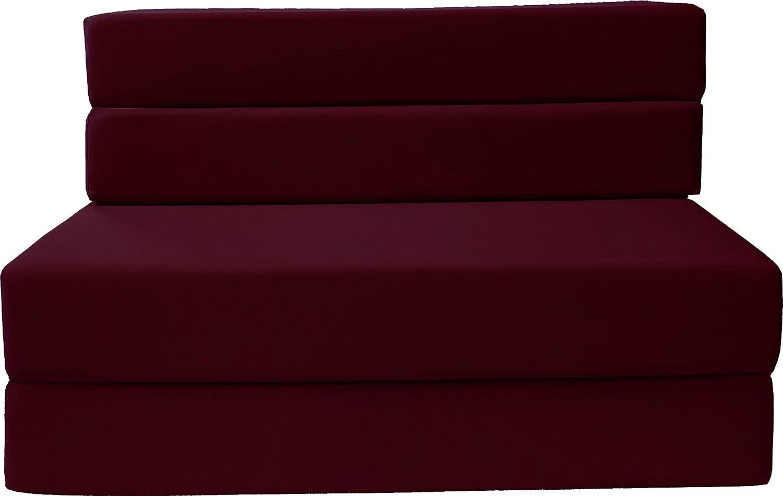 D D Futon Furniture Folding Foam Mattress, Sofa Chair Bed, Guest Beds Twin Size, Burgundy