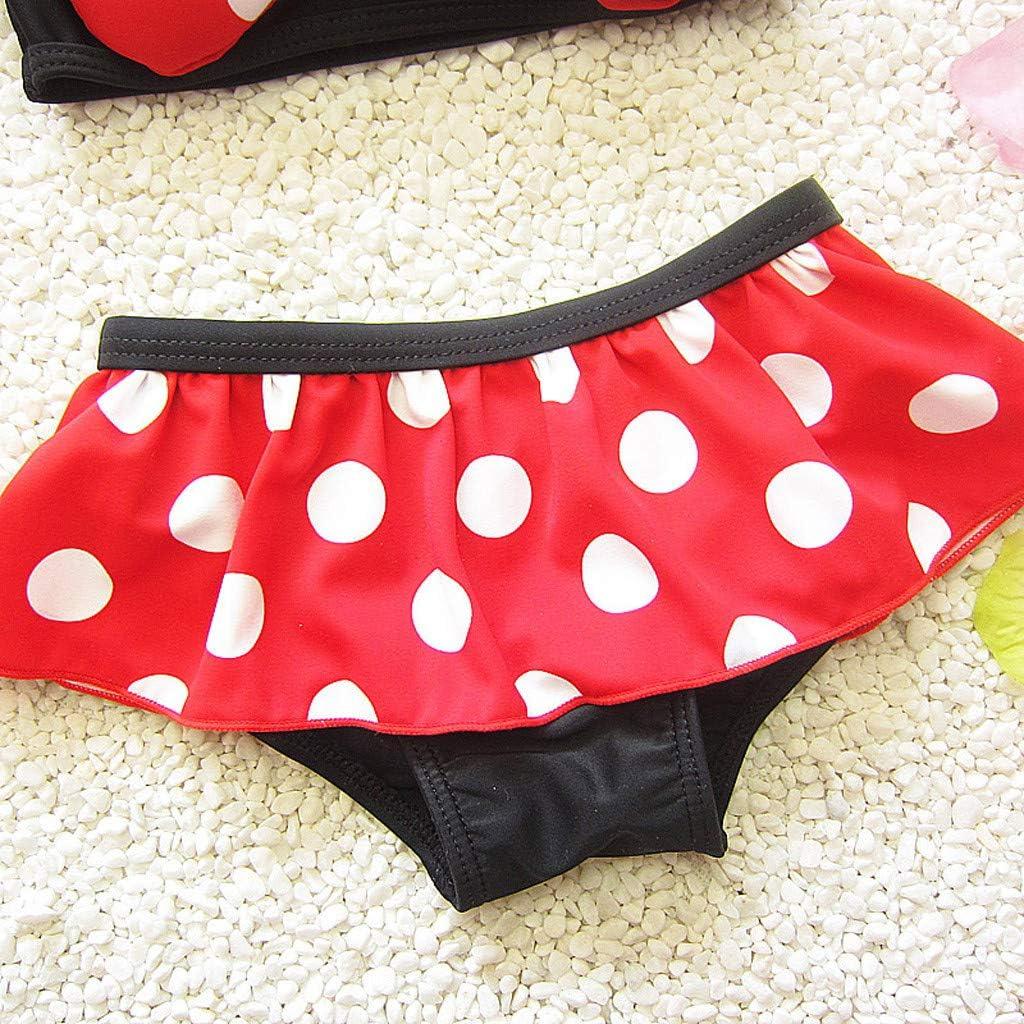 Bikini Swimsuit per Ragazze Bambini Costumi da Bagno Outfits Pantaloncini wanshop /® Neonata 3D Cartoon Mouse Costume da Bagno con DOT Stampa Cappello