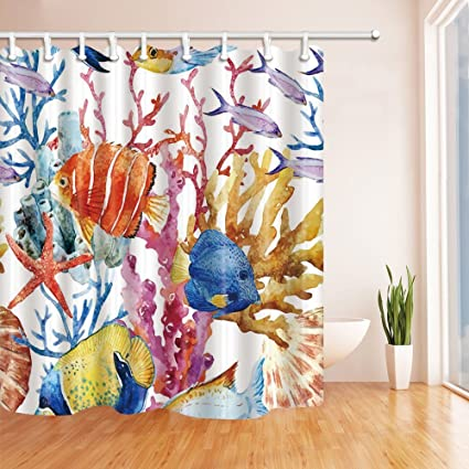 Nyngei Ocean Fish Decor Watercolor Goldfish Swim In The Coral Shower Curtain Mildew Resistant Polyester Fabric