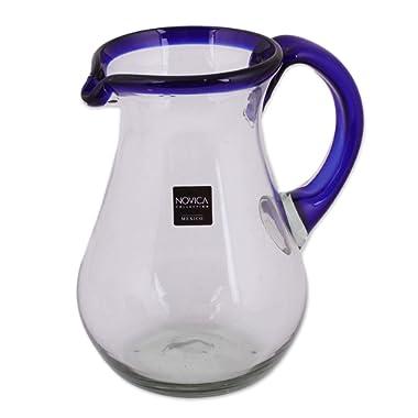 NOVICA 161655  Blue Grace Glass Pitcher