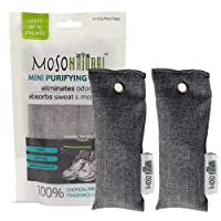 Moso Natural 2 Pack Mini Air Purifying Bags Shoe Deodorizer, Odor Absorber Eliminator Shoes, Gym Bags Sports Gear Charcoal Color