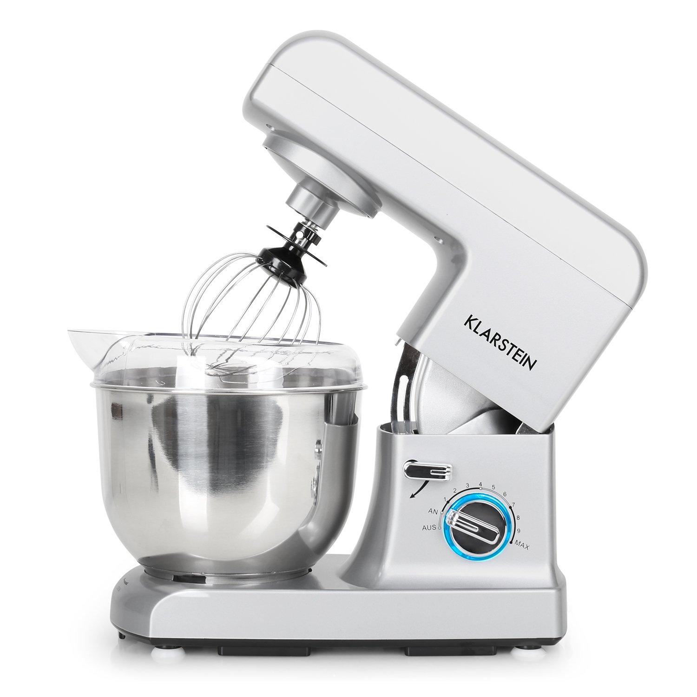 Klarstein Gracia Argentea • Robot de cocina • Batidora • Amasadora • 1000 W • 5 L • 1,3 PS • Batido planetario • 10 niveles de velocidad • Recipiente de ...