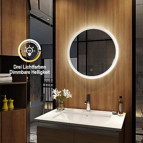 Emke Led Badspiegel Mit Beleuchtung Spiegel Rund 60cm Dimmbar Badezimmerspiegel Wandspiegel Badspiegel Rund Mit Touch Schalter Warmweiß Kaltweiß