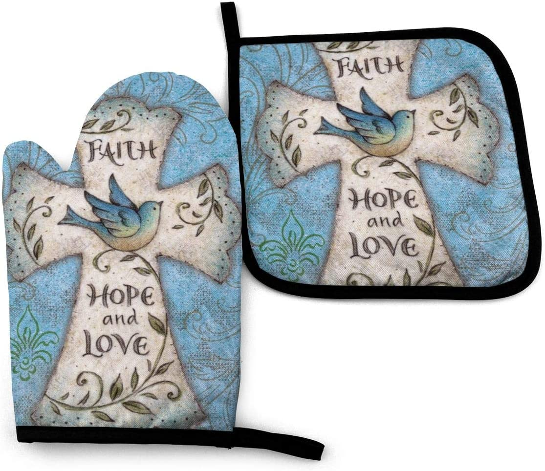 FEAIYEA Hope and Love Religious Cross Easter Faith Oven Mitts and Pot Holders Set Kitchen Gift Set, Non-Slip Textured Grip and Heat Resistant Perfect for Cooking Baking BBQ Grilling