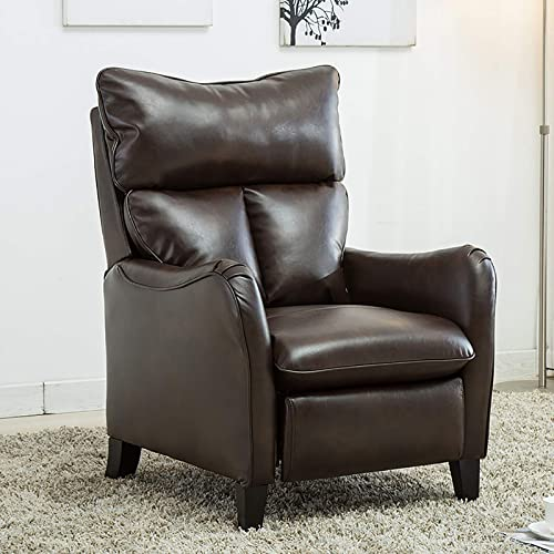 ANJ English Roll Arm Push Back Recliner Chair, Microfiber Home Single Sofa for Living Room, Gardena Brown