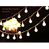 "36ft Outdoor Globe String Lights LED Warm White Fairy Twinkle Lights(3/4"" Dia Globe) with 8 Modes Controller & UL Listed Adaptor Plug &Transparent String Cable-for Festoon Party/Garden/Wedding Decor"