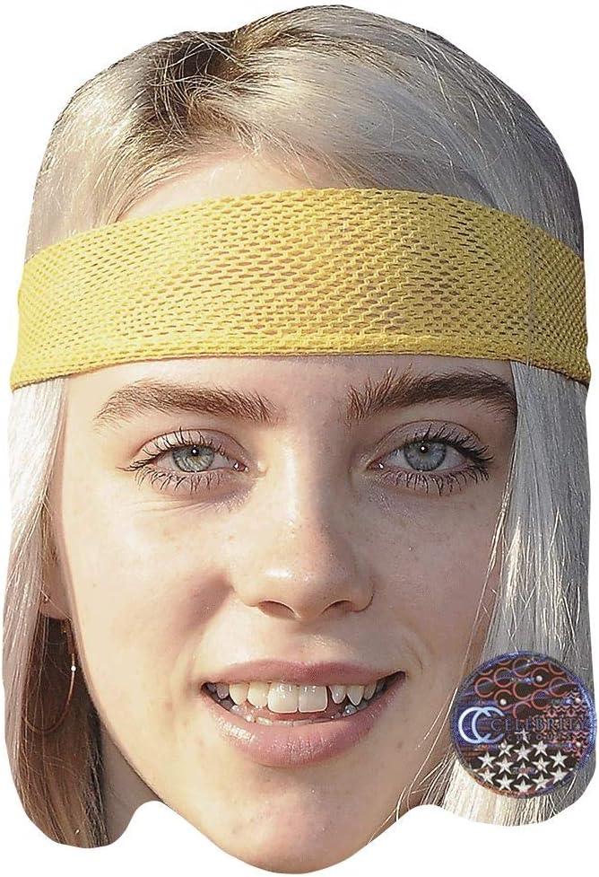 Billie Eilish (diadema) máscara de celebridad, tarjeta cara y ...