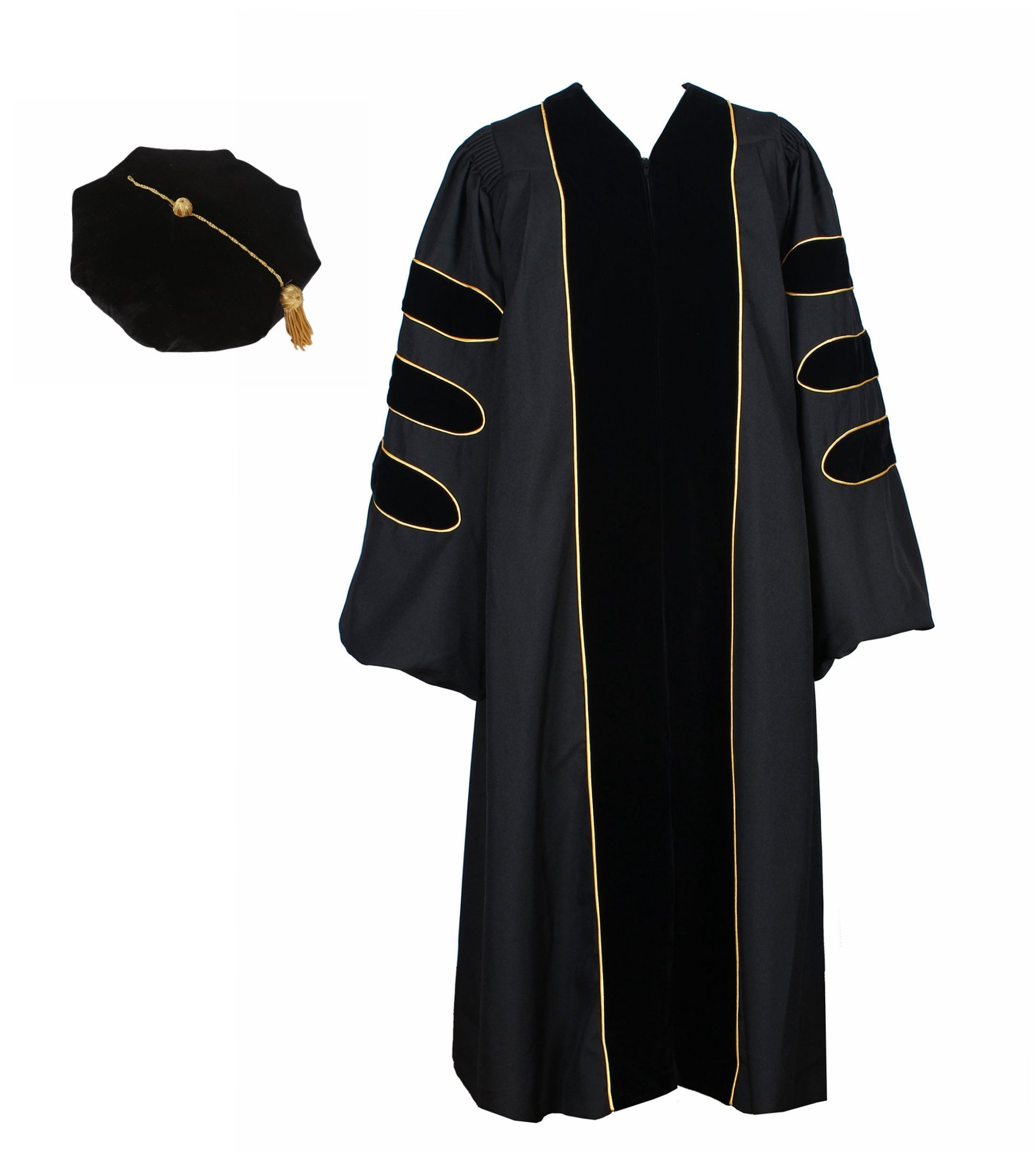 GraduationService Unisex Deluxe Doctoral Graduation Gown With Gold Piping and Bkack Doctoral Tam Package