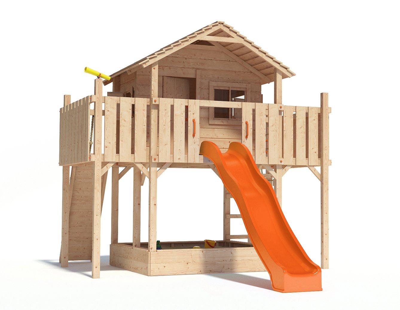FANTASIO Baumhaus Stelzenhaus Spielhaus mit Rutsche, Kletterrampe und Kletternetz auf 1,50 m Podesthöhe