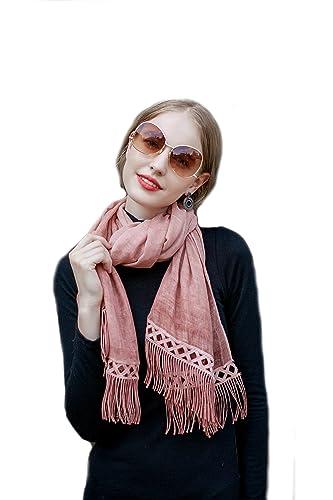 Donna Colore Solido Sciarpe Scialli Stole Wrap Con Tassels E Pizzo