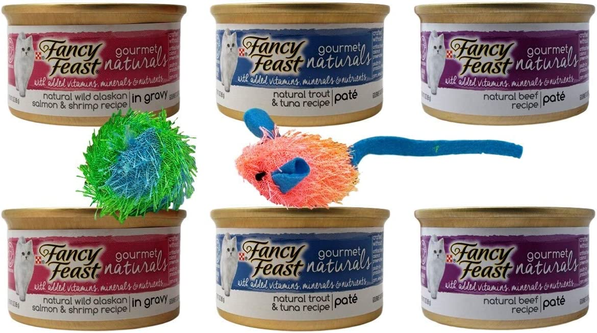 Fancy Feast Gourmet Naturals Cat Food 3 Flavor Variety 6 Can with 2 Toys Bundle, 2 Each: Wild Alaskan Salmon Shrimp Gravy, Trout Tuna Pate, Beef Pate (3 Ounces)