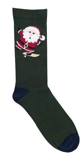 Calcetines de Navidad para hombre, de la marca Rjm, de algodón, números 40 - 44 Verde Green Mr Claus Talla única: Amazon.es: Ropa y accesorios