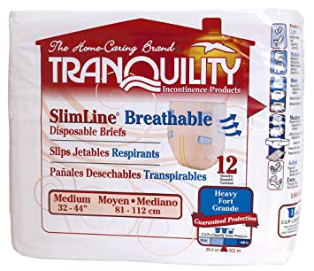 Tranquility SlimLine Breathable Adult Disposable Brief - MD - 12 ct