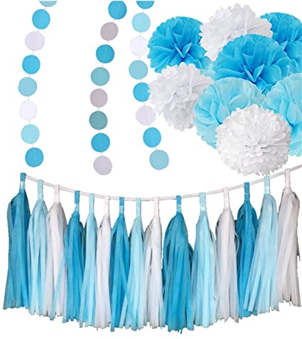 c8a356eb3 Fonder Mols Frozen Party Supplies 26pcs - White Blue Tissue Paper Pom Poms  Tassels Garlands Circle