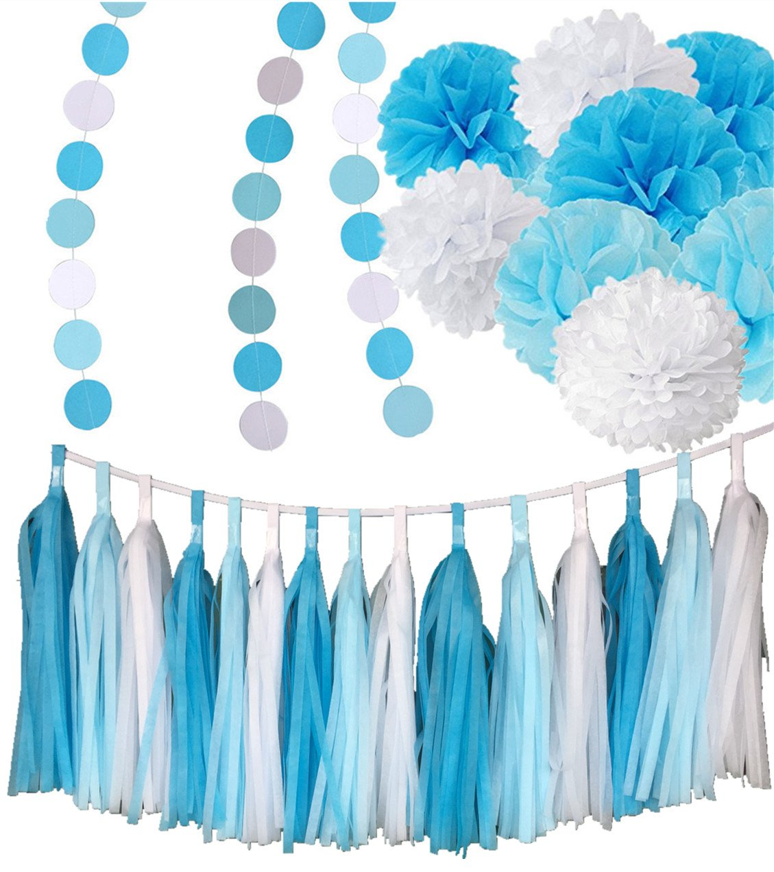 Fonder Mols Frozen Party Supplies 26pcs - White Blue Tissue Paper Pom Poms Tassels Garlands Circle Dots Banner For Blue Birthday Party Baby Shower Decorations