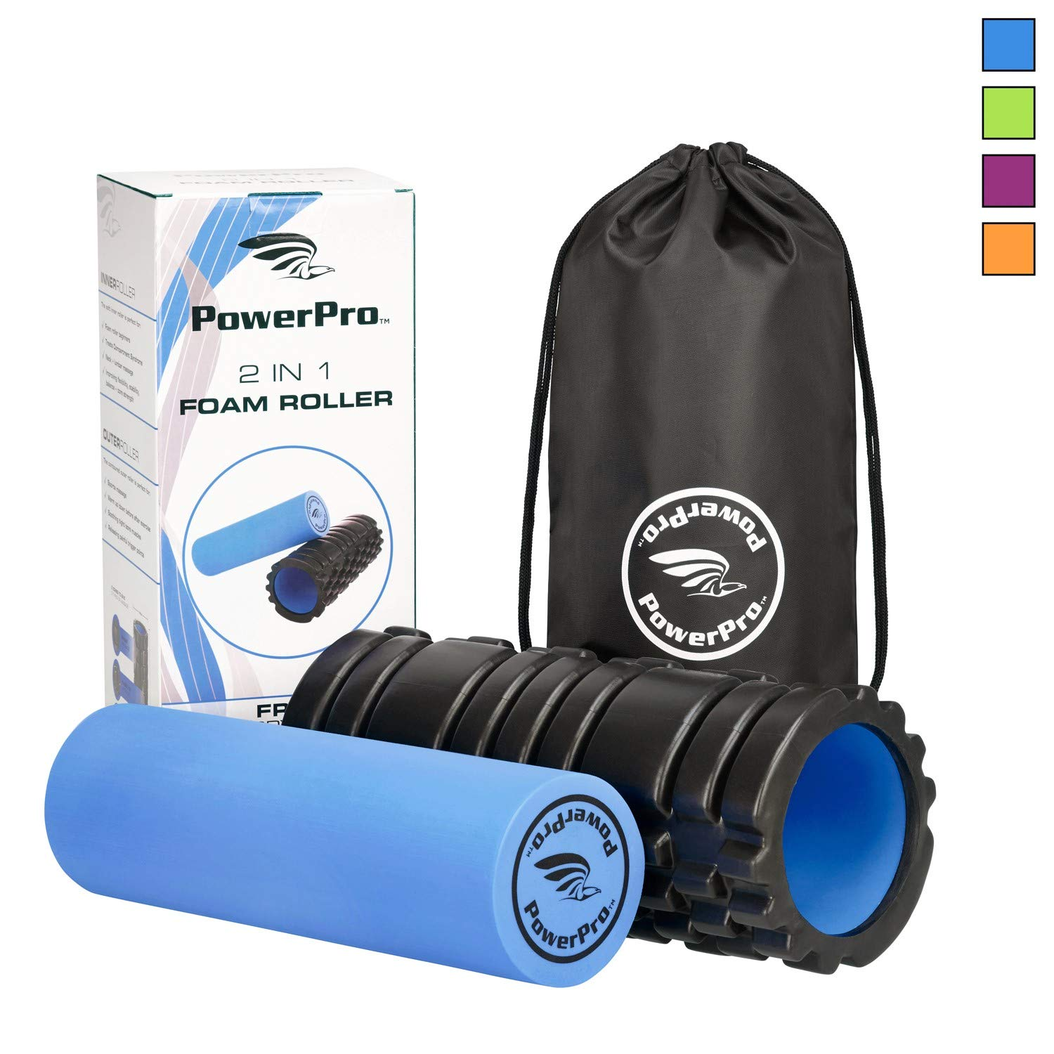 PowerPro 2-in-1 Foam Rollers: 13'' & 24'': Trigger Point Release Roller Massager. Plus Smooth Muscle Massage Roller. 2X eBooks & Carry Case