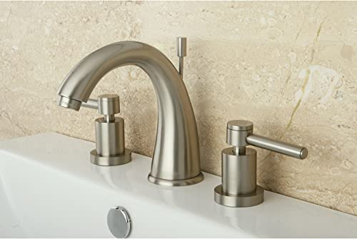 Kingston Brass KS2968DL Concord Widespread Lavatory Faucet with Brass Pop-Up,5.5-Inch Spout Reach,Satin Nickel