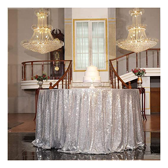 "PartyDelight 70"" inch Silver Sequin Tablecloth Round Wedding, Party, Christmas Decorations best Christmas tablecloths"