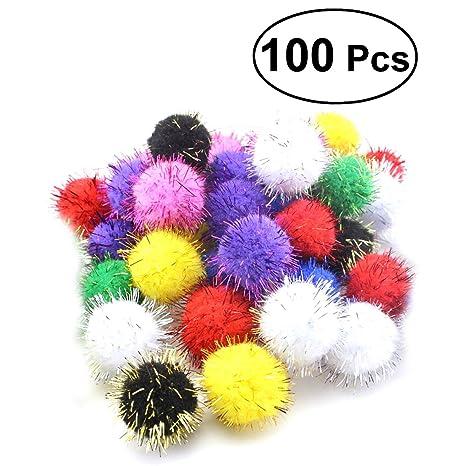 UEETEK - 100 unidades de pelotas de 20 mm para gatos, surtidas de pompones para