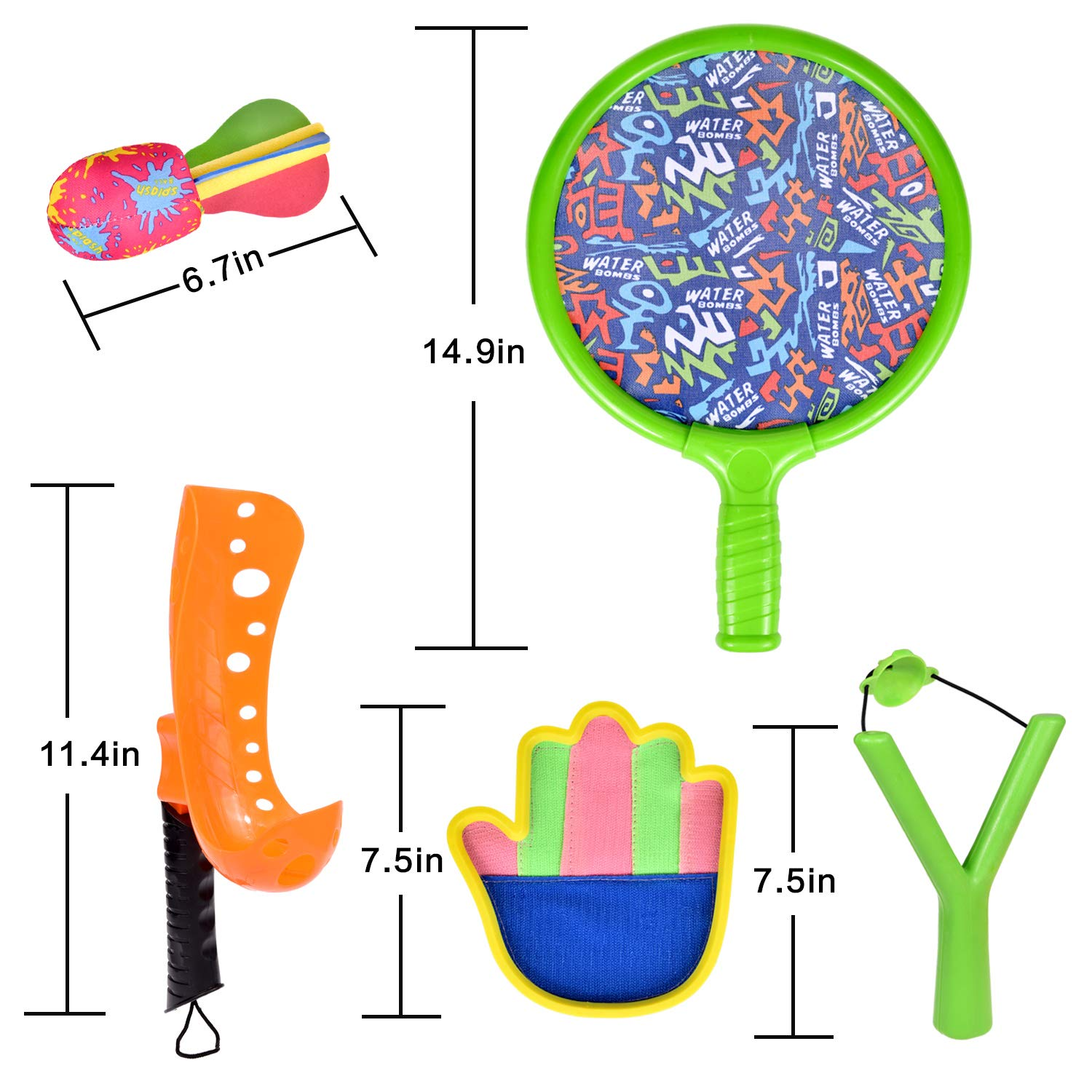 16 PCs Sports Outdoor Games Set with Scoop Ball Toss, Toss and Catch Games, Tennis Racket Sports Toy, Slingshot Rocket Copters Water Toys for Kids by FUN LITTLE TOYS (Image #7)