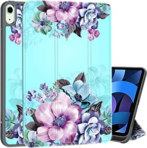 Casetego for iPad 10.9 2020 Case,iPad Air 4 Case with Apple Pencil Holder,Floral Design Trifold Stand PU Leather Auto Sleep/Wake Protective Case for Apple iPad 10.9 2020 & iPad Pro 11 inch 2018,Blue