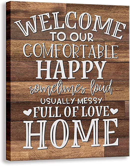 Amazon Com Kas Home Vintage Welcome Canvas Wall Art Farmhouse Rustic Funny Family Prints Decorative Signs Framed Wood Background Living Room Porch Wall Decor 15 X 12 Inch Welcome 01 Home Kitchen
