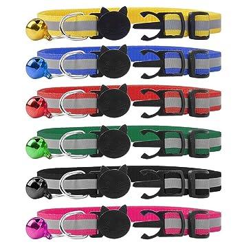 SCIROKKO Collar de Gato de liberación rápida con Campana Reflectante Collares 6 Paquetes: Amazon.es: Productos para mascotas