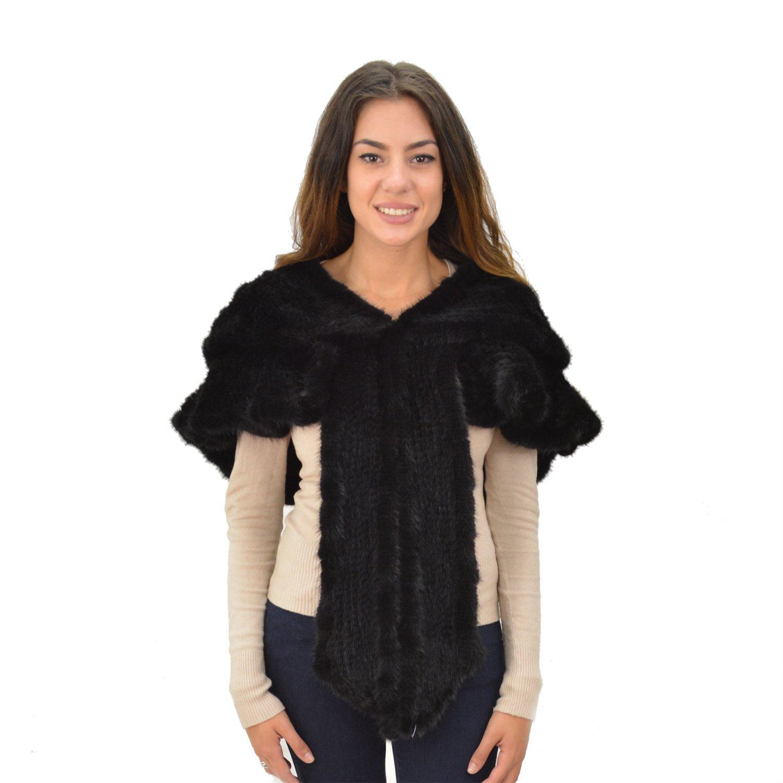 Women's Mink Knit Layered Shawl Unique Style - Black