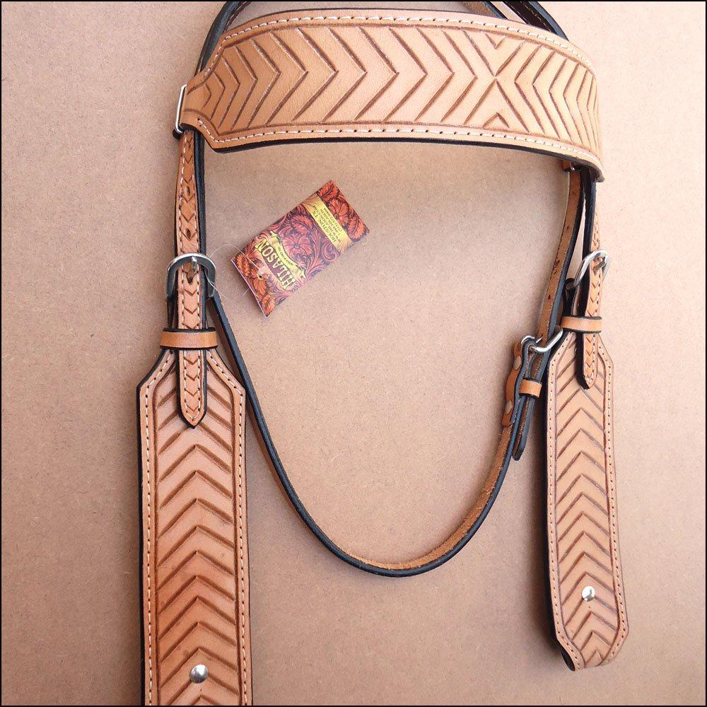 Hilason Western Horse Bridle Headstall Breast襟タンChevronハンドツール  標準