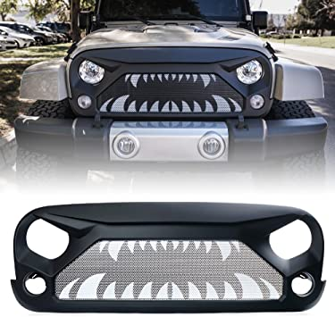 Xprite Glossy Front Grille Grid Grill w//Mesh For 2007-2018 Jeep Wrangler Rubicon Sahara Sport JK