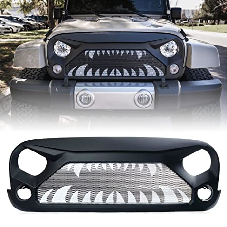 Xprite Front Grille Gladiator Vade Grill for 2007-2018 Jeep Rubicon Sahara  Sport JK JKU (Monster Teeth Steel Mesh)
