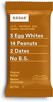 RXBAR Whole Food Protein Bar, Peanut Butter, 12 Count, 52g