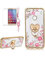 Secret Garden Case,Girlyard Bling Glitter Diamond Pink Flower Case Butterfly Clear Shiny Cover [Gold] Frame Slim Fit Crystal Protective Case with Silver Love Stand Ring For HUAWEI P10 LITE