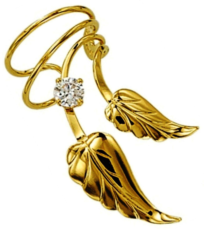Ear Charms S//W Leaf CZ Short Wave Ear Cuff Non-Pierced earring Wrap Gold on Silver