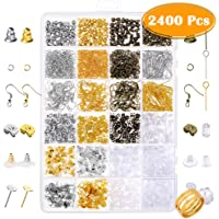 Paxcoo 2400Pcs Earring Making Supplies Kit with 24 Style Earring Hooks Earring Backs Earrings Posts and Earring Making…