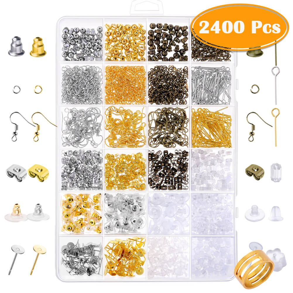 Paxcoo 2400Pcs Earring Making Supplies Kit with 24 Style Earring Hooks, Earring Backs, Earrings Posts and Earring Making Findings for Adult 4336827615