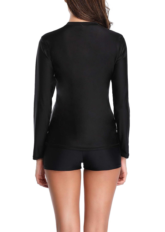YILISA Womens Long Sleeve Rash Guard UV UPF 50 Sun Protection Printed Swimwear Athletic Top Swim Shirt