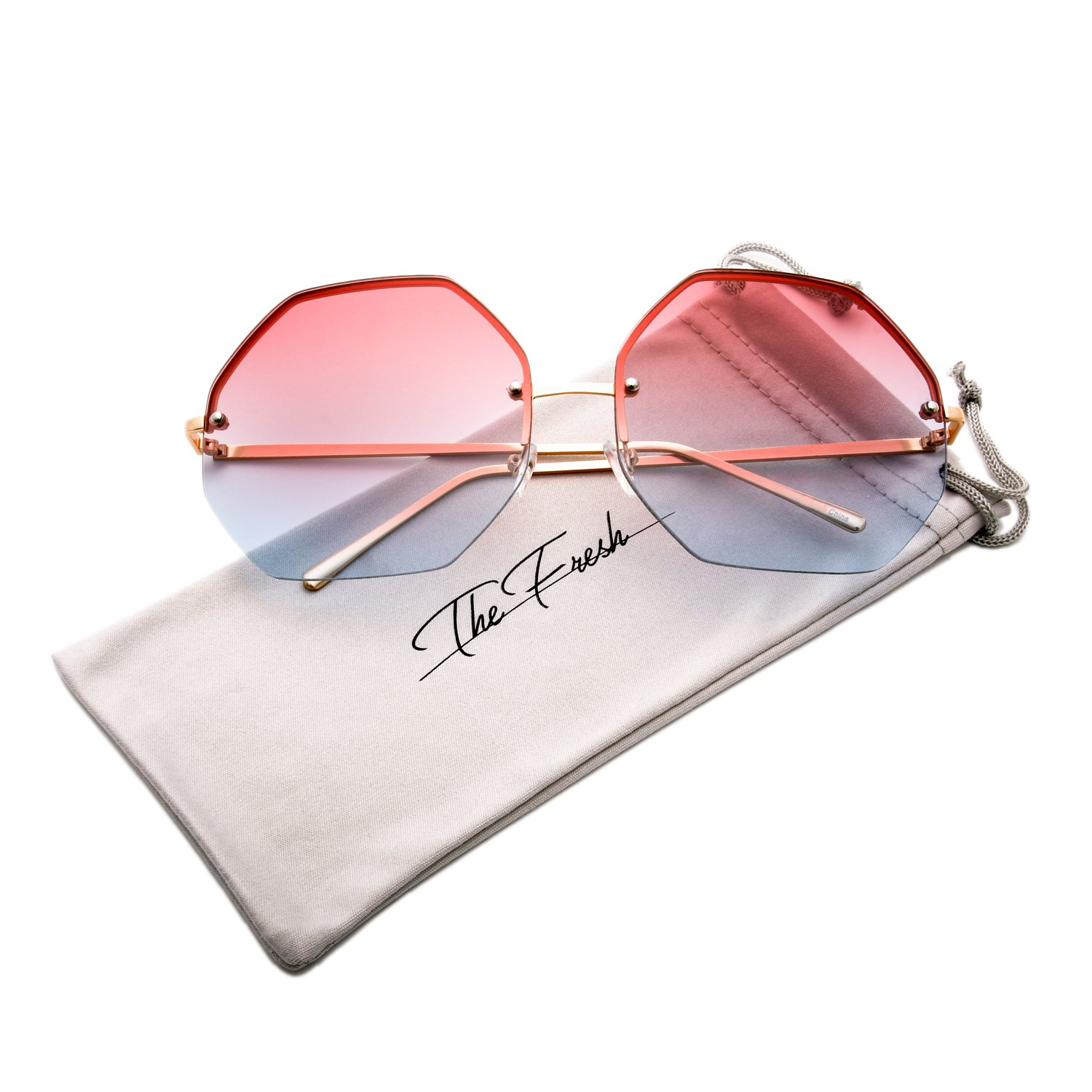 The Fresh Fashion Designer Oversize Hexagon Metal frame Ocean Colored Lens Women Sunglasses with Gift Box (Gold, Pink/Blue)