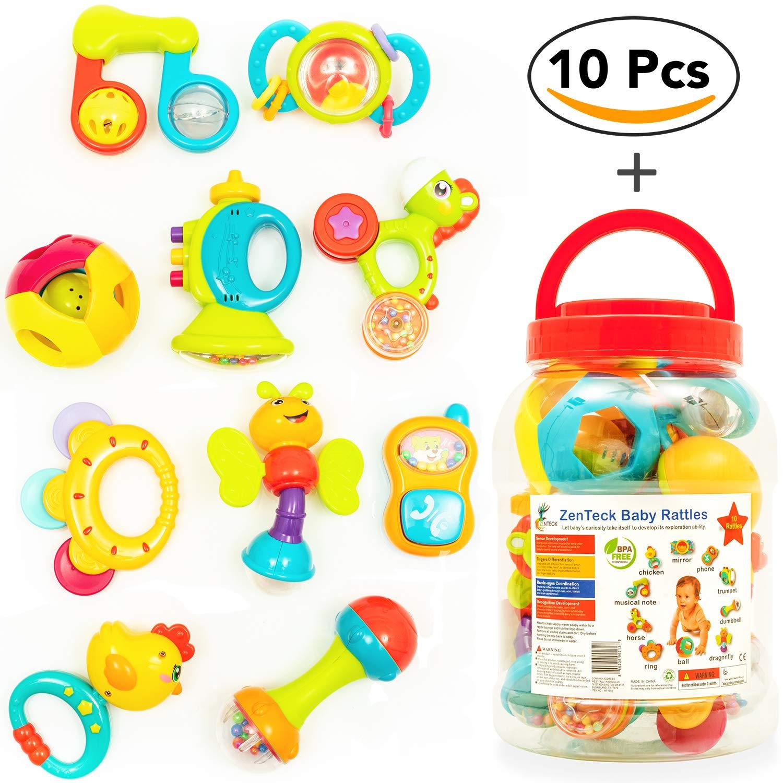 ZenTeck Interactive Baby Rattles & Teethers Set with Storage Jar [10-Piece] | BPA-Free, Non-Toxic, Child Safe, Premium Quality | Sensory, Educational & Developmental Rattles for Babies, Newborns