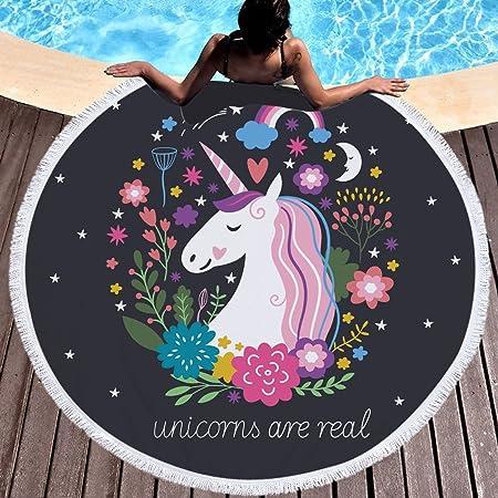 Unicornio Flores Arco Iris Toalla de playa grande redondo microfibra toalla de playa playa manta Toalla Mantel de picnic pared colgantes Yoga ...