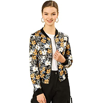 Allegra K Women's Stand Collar Zip Up Floral Prints Bomber Jacket: Clothing