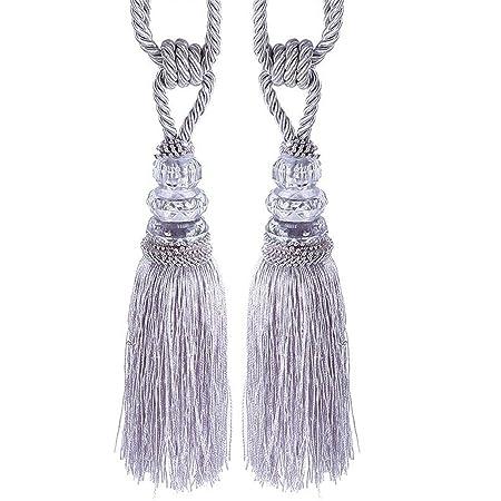 1 Pair Classic Crystal Tassel Tiebacks Curtain Tie Backs Fringe Home