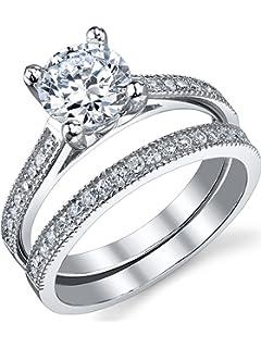Amazoncom Newshe Jewellery Alice 24 Carat Round White CZ 925