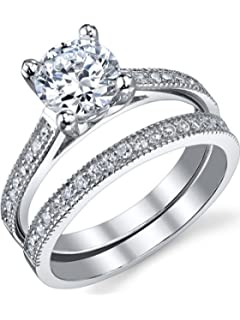 1.25 Carat Round Brilliant Cubic Zirconia Sterling Silver 925 Wedding  Engagement Ring Band Set Sizes 4